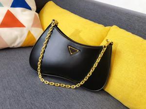 Luxury designer classic style one-shoulder messenger women's large-capacity bag bright leather retro portable armpit bag half moon shape