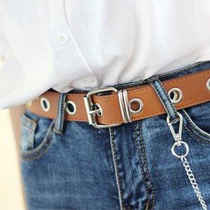 بو الجلود تسخير أحزمة الفضة دبوس مشبك معدني زنار براون نساء الترفيه جينز سلسلة نسائية جديدة مقعر الشكل الحزام الأسود
