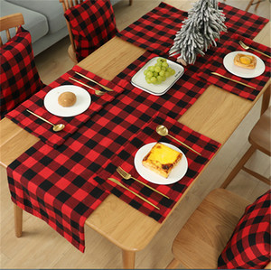 Xmas Plaid Tabella Mat tovaglietta rossa Nero Tabella Plaid Posate Decorazione natalizia Tovaglietta Tovaglia natale casa Decorazione per feste E102101