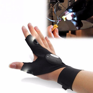 30#Car Bike Tire Repair Tool Night Fishing Glove with LED Light Rescue Tools Outdoor Gear Magic Strap Fingerless Glove