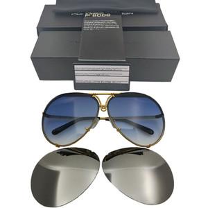 Design Brand P 8478 Sunglasse Lente sostituibile Anti Riflettente Donne Specchio Occhiali da sole Ovale Uomo Obiettivo intercambiabile Obiettivo originale Occhiali da sole
