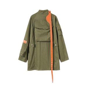 Женщины женские пальто армии зеленая ветровка мода женщины негабаритный стенд воротник кожаный лоскутный большой карманный пальто женский пальто