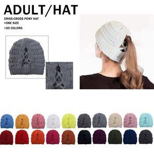 Criss Cross Ponytail Beanies 20 Colors Winter Warm Knitted Hat Women Cross Ponytail Ski Cap Festive Party Hats CYZ2841 50Pcs