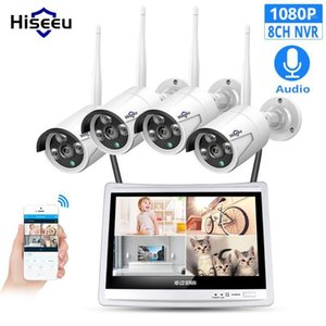 Hiseeu 8CH 10CH 1080P اللاسلكية NVR مجموعات 12 'شاشة LCD HD الأمن في الهواء الطلق 2MP IP كاميرا مراقبة فيديو WiFi CCTV كاميرا نظام 1