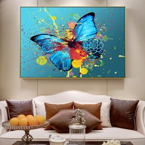 Canvas Painting Wall Posters and Prints Colorful butterfly HD Wall Art Pictures For Living Room Decoration Dining Children Hotel Home Decor