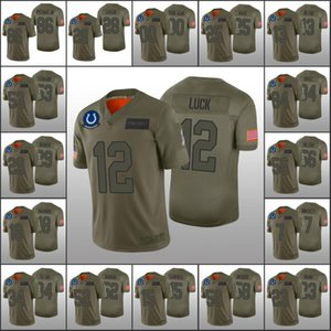 IndianapolisColtsMen 13 T.Y. Hilton 12 Andrew Luck 86 Michael Pittman Jr Custom Women YouthNFL Olive Salute to Service Jersey