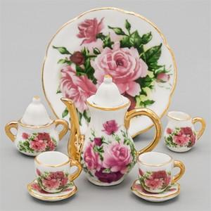 Odoria 1: 6 Minyatür 8 adet Porselen Gül Çay Bardağı Set Seramik Sofra Bebekler 'Dollhouse Mutfak Aksesuarları LJ201211