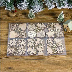 12pcs lot Christmas Tree Ornaments Wooden Chip Snowman Tree Deer Socks Hanging Pendant Christmas Decoration Xmas Gift OWE2115