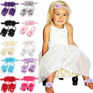 5sets / lot Yenidoğan Barefoot Sandalet Çiçek Kafa Prenses Pearl Rhinestone Kafa Elastik Çiçek Saç Bantları wF67 #