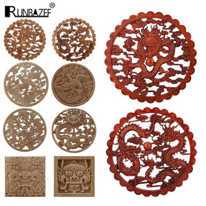 Chinese Dragon And Phoenix Mascot Unpainted Retro Line Wood Decals Wood Decals Oval Rubber Home Furniture Wall Hot Sale Ne