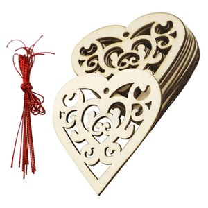 10pcs Lot Christmas Wedding Decoration Heart Wooden Craft Hanging Festive Ornament Home Party Table Diy Handmade Scrapbooking yxlbpO