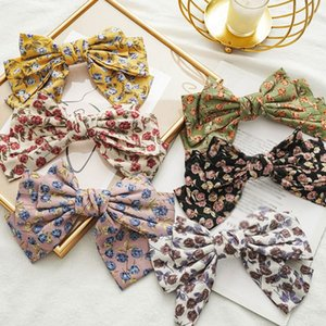 Rose Flower Big Bow Spring Clips Hairpins For Women Three Layer Butterfly Floral Printed Hair Accessories Hair Clips Headwear