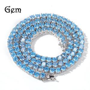 Hip Hop New Copper marqueté Blue Sea Zircon Collier Mode Mode Mode Marque hommes et femmes Lovers Bijoux sauvages
