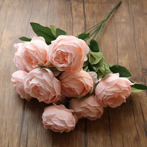 10 Big Heads Rose Bouquet Silk Peony Artificial Flowers Cheap Fake Flowers Home Decoration Wedding