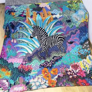 Jungle Zebra Echarpe Soie Cachemire Mélangée Femmes Écharpes d'hiver Femmes Grand Châles Square Craps Girl Pashimina Handmade 140 * 140cm Y200110