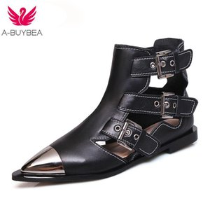 Fashion Buckle Genuine Leather Rivets Motorcycle Ankle Boots Woman Brand Shoes Female Spring Summer Boots Sandals Shoes Women