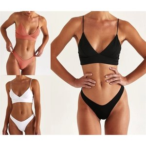 New Sexy Female Swimsuit High Waist 2021 Women Swimwear Two-pieces Bikini Set Bather Ribbed Bathing Suit Swim