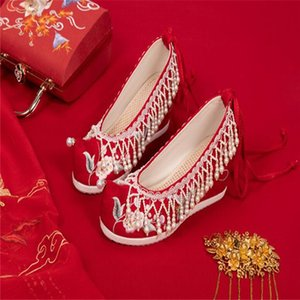 Xiuhe shoes red high-heel wedding shoes Chinese wedding bridal sedan chair embroidery handmade beaded cloth shoes