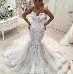 Sexy Mermaid Wedding Dresses Arabic Spaghetti Strps Lace Appliques Court Train Bridal Gowns Plus Size 2021 Vestidos De Novia Backless AL8268