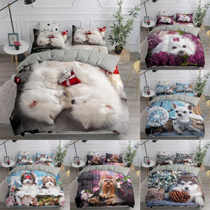 Pet Dog Cute Bedding Set Queen 3D Cartoon Printed Duvet Cover Bedclothes 2 3pcs Home Textiles Luxury High Quality Kids Bedspread