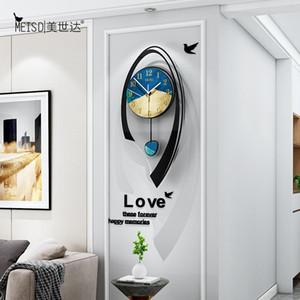 Multicolor Arc Forma Swingable Gran pared Reloj de pared moderno Sala de estar Decoración de la casa Decoración de la pared reloj decorativo reloj