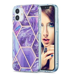 For iPhone 12 12 Pro Max Case Electroplating IMD Marbling Splicing Back Cover for iPhone X XR XS MAX