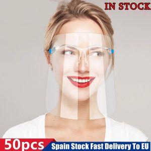 Titolare Shield UE Spagna Stock PET HD faccia con gli occhiali di sicurezza Oil-Splash Proof Protective face mask copertura trasparente facciale della mascherina di vetro
