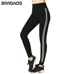 Bivigaos coreano sottile modale Workout pantaloni stirata alta Parallele stampato nero Sport Women Sexy Leggings