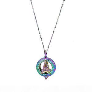 C829 Rainbow Color Imán Torre grande Torre Redondo Perlas Cause Colgante Especial Esencial Difusor Aromaterapia Pearl Cage Collar