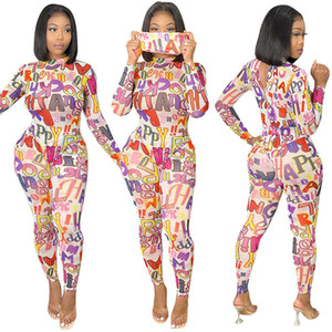 Sexy Women Tight Slim Jumpsuits Letter Print Women Onesies Rompers Breathable Mesh Lady Bodysuit Clothing Size S-XXL