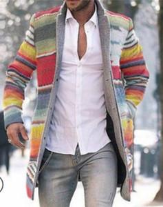 Erkekler Uzun Blazer Mont Ofis Palto 4XL Sonbahar Ve Kış Gökkuşağı Baskı Uzun Sıcak Ceket Erkekler Artı Boyutu Dış Giyim Siyah Sıcak