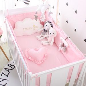 Prinzessin Rosa 100% Baumwolle Baby Bettwäsche Set Neugeborene Baby Krippe Bettwäsche Set für Mädchen Jungen Waschbare Kinderbett Bettwäsche 4 Stoßstangen + 1 Blatt 201210