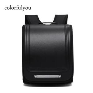 Buntyou Marke 2019 Neue Schultaschen Orthopädische Rucksack für Jungen und Mädchen Wasserdichte PU Randoseru Rucksack Japan Student Bag Y200706