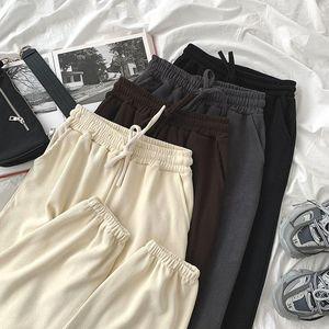Casual Sports Pants Autumn Women Elastic High Waist Drawstring Loose Harem Pants Female White Black Gray Long Trousers Bottoms