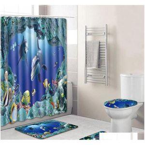 4pcs Set Bathroom Accessories Non-slip Pedestal Rug + Lid Toilet Cover + Bath Mat+shower Curtain Bathroom De qylIgb bdetoys