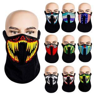 designer mask Christmas Halloween face mask designer LED luminous masks EL cold light motorcycle luminous facemask Cosplay