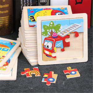 Simple Wooden Puzzle Jigsaw Cartoon Animal Vehicle Wood Toy for Kids Baby Early Puzzle early Educational Learning Toys Gift