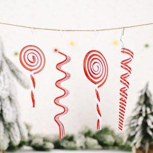 Kolye Süsleme İçin Noel Yeni Yıl Partisi Dekorasyon Asma Noel ağacı Dekor Şeker Kamışı Kırmızı Yeşil Plastik Crutch Lolipop
