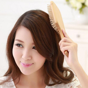 Wooden Spa Massage Comb Hair Care Wooden Paddle Pointed Handle Teeth Hair Brush Antistatic Cushion Comb