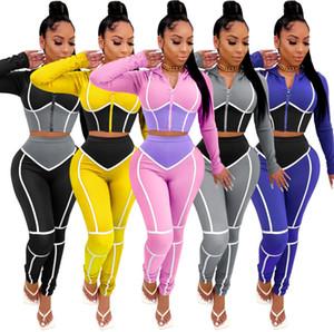 Женщины Cousssuit Два кусочка Наряды Весна Женская мода Yoga Брюки Комплект одежды Контрастность Цвет Спортивные Спортивные Костюмы 2021