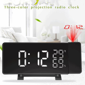 Radio Alarm Clock Digital LED Curved-Screen Clock Projector 4 Sounds FM Radio Dual Desk Watch Table with Projection