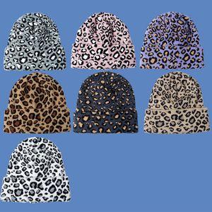 Sombrero de punto de moda de lana caliente de invierno para mujeres sombreros de fiesta 7 estilo leopardo impresión dropship xd24323
