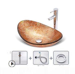2020 hot venda de Banho Sinks Bathroom lavatório de vidro temperado bacia do norte da Europa toalete banheiro lavatório estágio estilo de arte