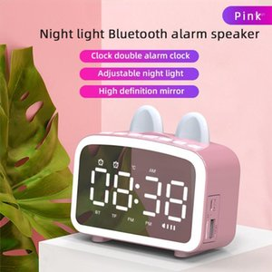 Multifunction Mirror Alarm Clock Bluetooth Speaker With FM Radio LED Mirror Snooze Wireless Subwoofer Music Player Table Clock1