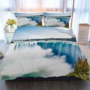 3D-Druck Frohe Weihnachten Bettwäsche Niagara Falls Horseshoe Falls Quilt Bettwäsche Tröster Bettwäsche-Sets