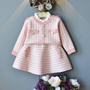 2-7Yrs Çocuk Giyim Uzun Kollu Örme Ekose Kazak Süveter + Etek 2PC Kıyafetler Çocuk Giyim SetX1019 için DFXD Prenses Giyim Setleri