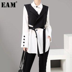 [EAM] Kadın İki Parçalı Bluz Kayış Siyah Düğme Yeni Yaka Uzun Kollu Gevşek Fit Gömlek Moda Gelgit İlkbahar Sonbahar LJ200922