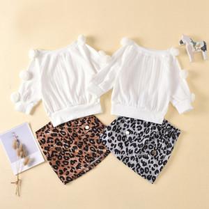 Ropa para niños Trajes Niños leopardo de las muchachas La bola de pelo larga sólida Tops + Leopard falda 2Pcs / Set Fashion Boutique Ropa de bebé Establece M2888