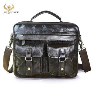 """Le'aokuu Hommes cuir naturel gris Retro Porte-documents d'affaires Maleta ordinateur portable 13"""" design Messenger Bag attaché-case Portefeuille B207"""