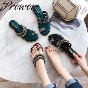 Prowow 2020 Yeni Moda Bayan Ayakkabıları Düz Açık Toe Flop1